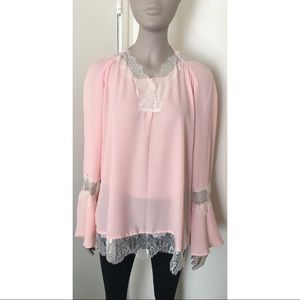 NY Collection Pink Eyelash Lace Peasant Top